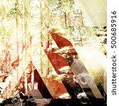 fairy tale forest in retro... | Shutterstock . vector #500685916