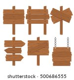 wooden blank signs set on white ... | Shutterstock .eps vector #500686555
