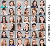 portrait collage of many... | Shutterstock . vector #500687152