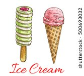 fruit ice cream colored sketch. ... | Shutterstock .eps vector #500693032