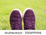 Purple Shoe On Green Grass
