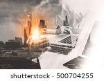 double exposure of success... | Shutterstock . vector #500704255