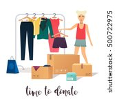 clothes donation. girl makes... | Shutterstock .eps vector #500722975