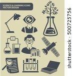 science icon set clean vector
