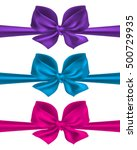 purple  blue and pink bow... | Shutterstock .eps vector #500729935