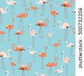 elegant pink flamingo birds... | Shutterstock .eps vector #500732206