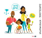 sports family portrait.... | Shutterstock .eps vector #500732692