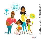 sports family portrait....   Shutterstock .eps vector #500732692