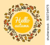 decorative frame with autumn... | Shutterstock .eps vector #500734975