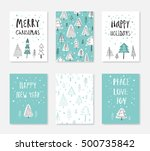 collection of 6 christmas card... | Shutterstock .eps vector #500735842