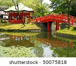 Pond in Village of Samurais. Japan, an island of Hokkaido - stock photo