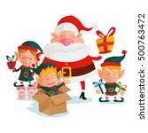 santa claus and elves  vector... | Shutterstock .eps vector #500763472