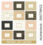 twelve month 2017 calendar... | Shutterstock .eps vector #500778922