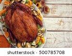thanksgiving turkey dinner on... | Shutterstock . vector #500785708