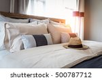 bed maid up with clean white... | Shutterstock . vector #500787712