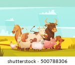 Farm Animals On Sunny Day In...