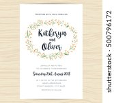 wedding invitation card... | Shutterstock .eps vector #500796172