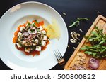 beautiful diet salad with feta... | Shutterstock . vector #500800822