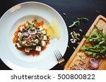 beautiful diet salad with feta... | Shutterstock . vector #500800822