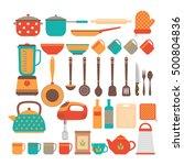 big set of kitchen utensils.... | Shutterstock .eps vector #500804836