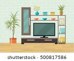 living room interior. tv table... | Shutterstock .eps vector #500817586