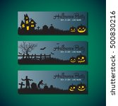 halloween greeting card flat... | Shutterstock .eps vector #500830216