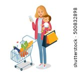 mom with child going for... | Shutterstock .eps vector #500832898