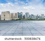 empty floor with modern skyline ... | Shutterstock . vector #500838676