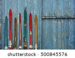 collection of vintage wooden... | Shutterstock . vector #500845576