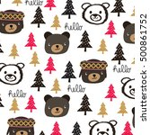 childish pattern with teddy... | Shutterstock .eps vector #500861752