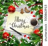 christmas design on wood | Shutterstock .eps vector #500863915