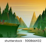 cartoon forest landscape with... | Shutterstock .eps vector #500866432
