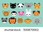 vector set of cute cartoon... | Shutterstock .eps vector #500870002