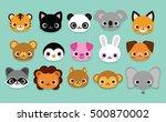 vector set of cute cartoon... | Shutterstock .eps vector #500870002