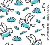 seamless pattern with pegasus...
