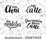 chai latte  caffe latte  green... | Shutterstock .eps vector #500874535