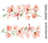 watercolor sakura. floral... | Shutterstock . vector #500874682