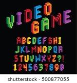 vector isometric pixel 3d... | Shutterstock .eps vector #500877055