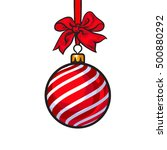 red christmas ball with red... | Shutterstock .eps vector #500880292