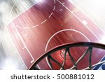 basketball court floor and hoop ... | Shutterstock . vector #500881012