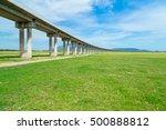 bridge railway cross over grass ... | Shutterstock . vector #500888812
