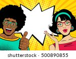 wow couple faces. sexy happy... | Shutterstock .eps vector #500890855