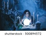 on eve of halloween witch casts ... | Shutterstock . vector #500894572
