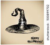 halloween witch hat.. vector... | Shutterstock .eps vector #500899702