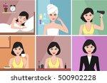 morning women routine. set of...   Shutterstock .eps vector #500902228