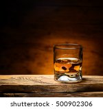 glass of scotch whiskey on a...   Shutterstock . vector #500902306