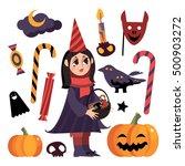 halloween set. little girl.... | Shutterstock .eps vector #500903272