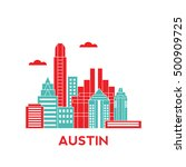 austin city architecture retro... | Shutterstock .eps vector #500909725