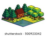 vector isometric summer forest