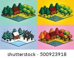 vector set of four seasons... | Shutterstock .eps vector #500923918